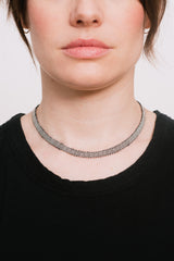 Oxidized Silver Necklace with Mohair