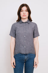 Short Sleeve Linen Shirt Grey
