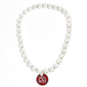 Tartan Red Plaid Monogram Pearl Necklace