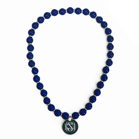 Tartan Blue Plaid Monogram Beaded Necklace