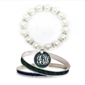 Tartan Blue Plaid Monogram Pearl Bracelet Set