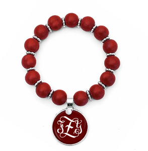 Beaded Monogram Bracelet - Ruby