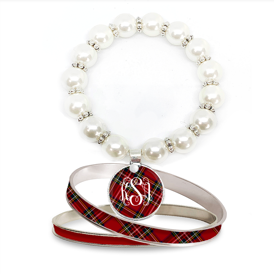 Tartan Red Plaid Monogram Pearl Bracelet Set