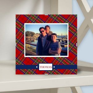 Monogram Photo Frame | Tartan Red Plaid