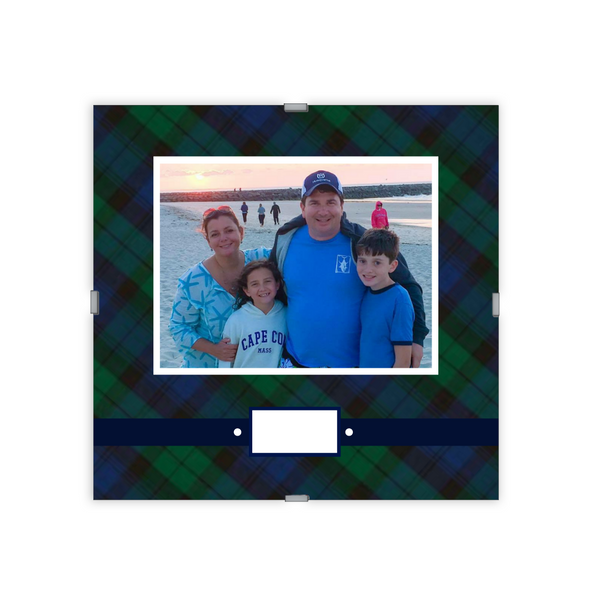 Monogram Photo Frame | Tartan Blue Plaid