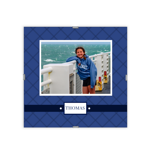 Monogram Photo Frame | Quilted India St Blue