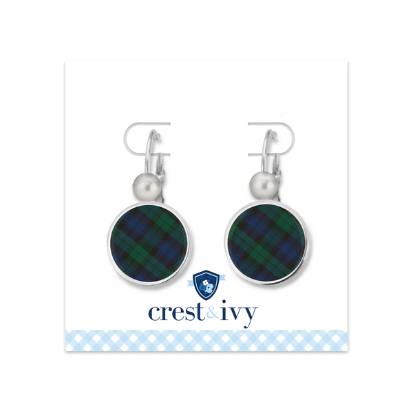 Tartan Blue Plaid Monogram Earrings