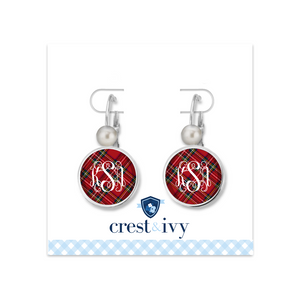 Tartan Red Plaid Monogram Earrings