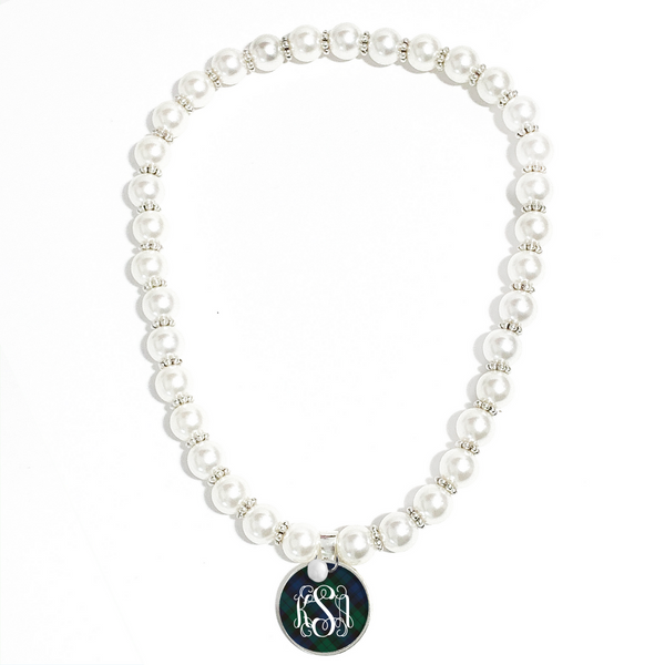 Tartan Blue Plaid Monogram Pearl Necklace