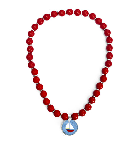 Ahoy Sailboat Beaded Necklace