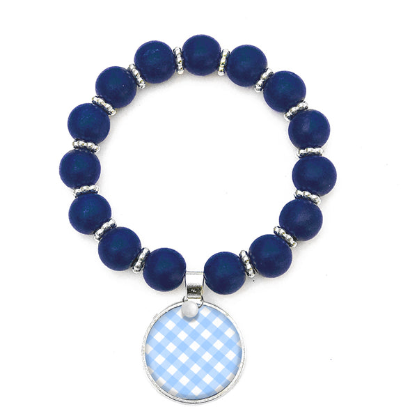 Beaded Monogram Bracelet - Blue Gingham