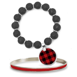 Buffalo Plaid Beaded Bracelet Set