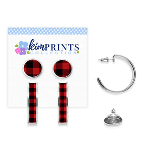 Buffalo Plaid Red Earring Set