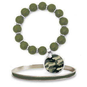 Camo Green Beaded Bracelet Set
