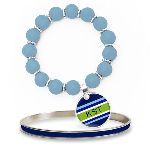 Classic Prep Stripe Blue Beaded Bracelet Set w/ Monogram
