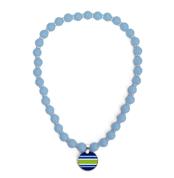 Classic Prep Stripe Blue Beaded Necklace Monogram