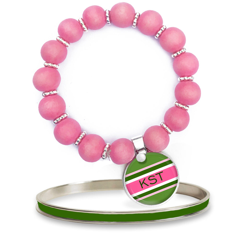 Classic Prep Stripe Pink Beaded Bracelet Set w/ Monogram