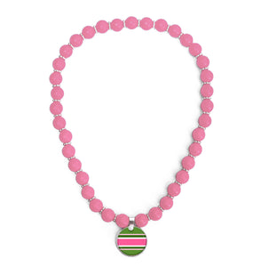 Classic Prep Stripe Pink Beaded Necklace