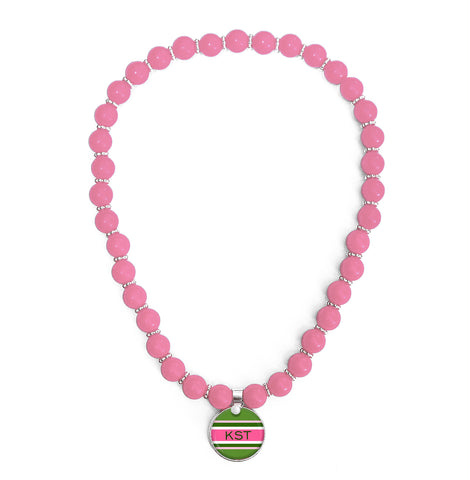 Classic Prep Stripe Pink Beaded Necklace Monogram