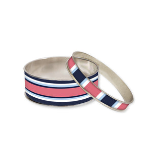 Classic Stripe Nantucket Red Bangle Bracelet Set
