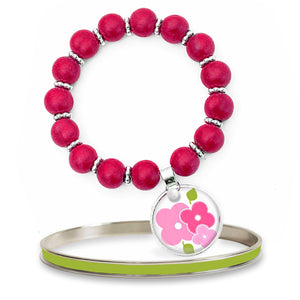 Signature Floral Pink Beaded Bracelet Set