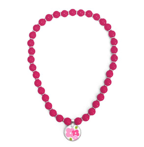 Signature Hydrangea Floral Pink Beaded Necklace