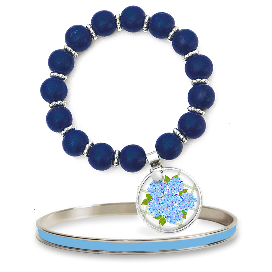 Sconset Hydrangea Blue Beaded Bracelet Set