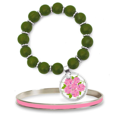 Sconset Hydrangea Pink Beaded Bracelet Set