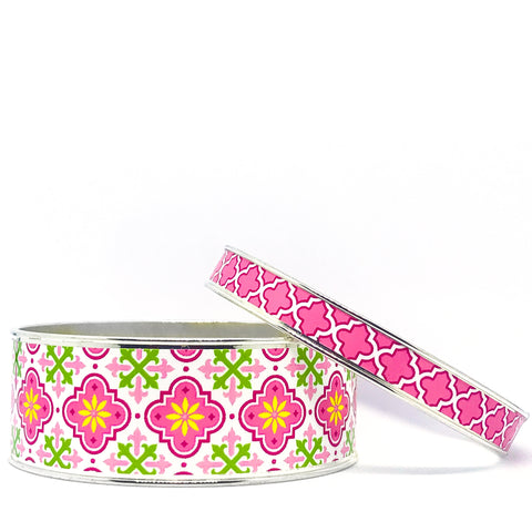Moroccan Pink Bangle Bracelet Set