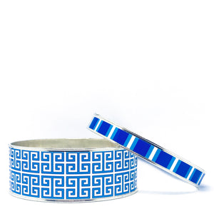 Greek Key Blue Bangle Bracelet Set