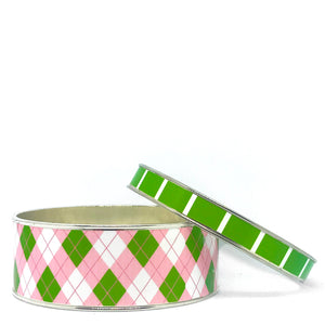 Argyle Pink Bangle Bracelet Set