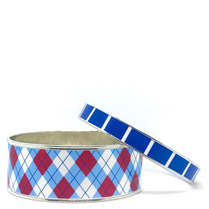 Argyle Blue Bangle Bracelet Set