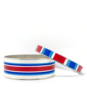 Classic Prep Stripe Red Bangle Bracelet Set