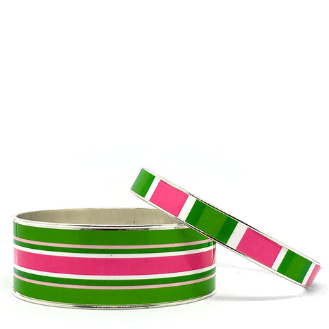Classic Prep Stripe Pink Bangle Bracelet Set