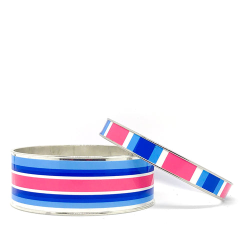 Classic Prep Stripe Navy Bangle Bracelet Set