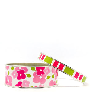 Signature Floral Pink Bangle Bracelet Set