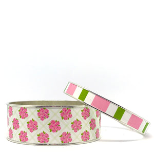 Sconset Hydrangea Pink Bangle Bracelet Set