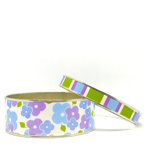 Signature Floral Blue Bangle Bracelet Set