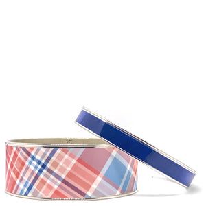 Madras Nantucket Red Plaid Bangle Bracelet Set