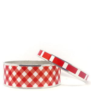 Gingham Red Bangle Bracelet Set
