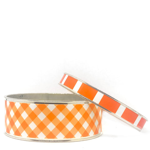 Gingham Orange Bangle Bracelet Set