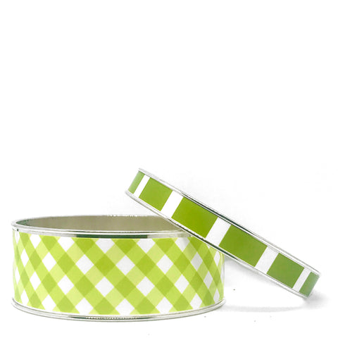 Gingham Green Bangle Bracelet Set