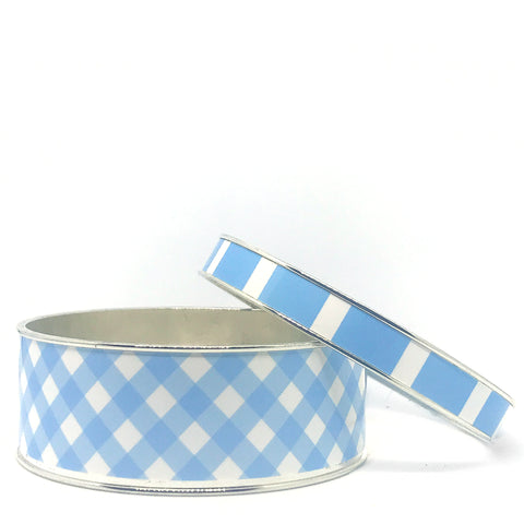 Gingham Blue Bangle Bracelet Set