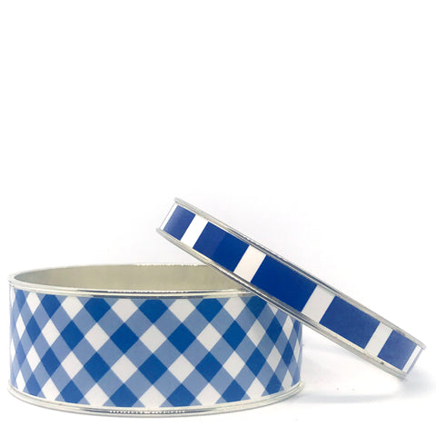 Gingham Navy Bangle Bracelet Set