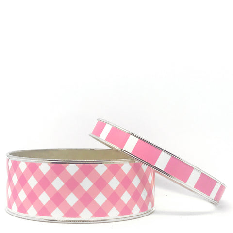 Gingham Pink Bangle Bracelet Set