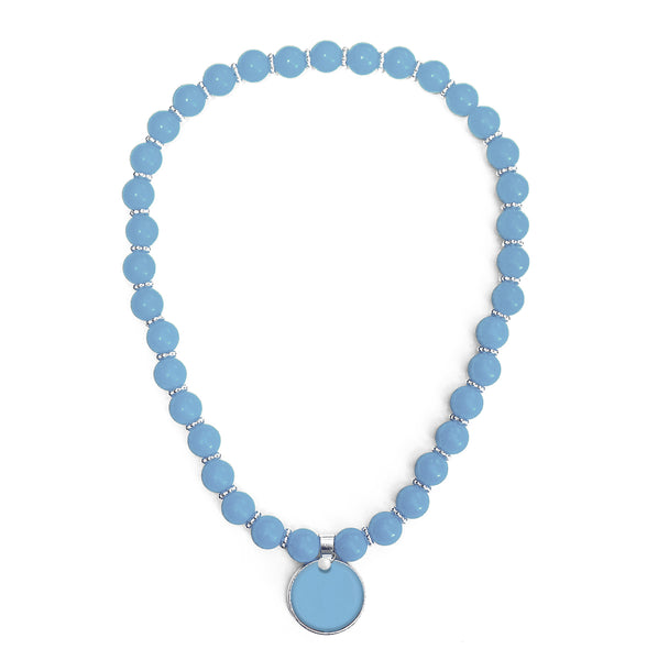Beaded Monogram Necklace - Blue Sky