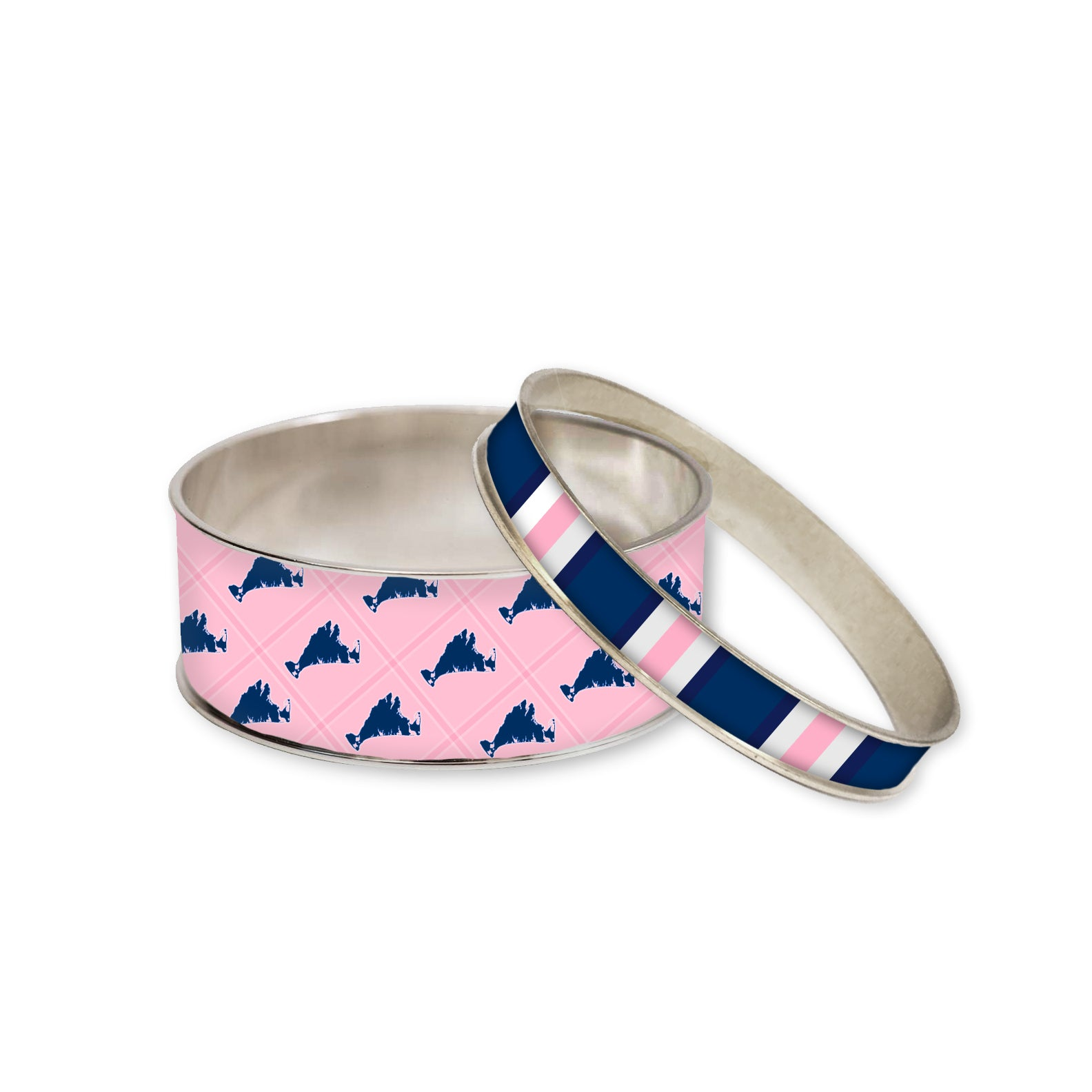 Martha's Vineyard Island Pink Bangle Set