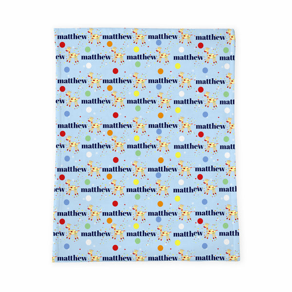 Personalized Baby Blanket | Matty Giffy Blue