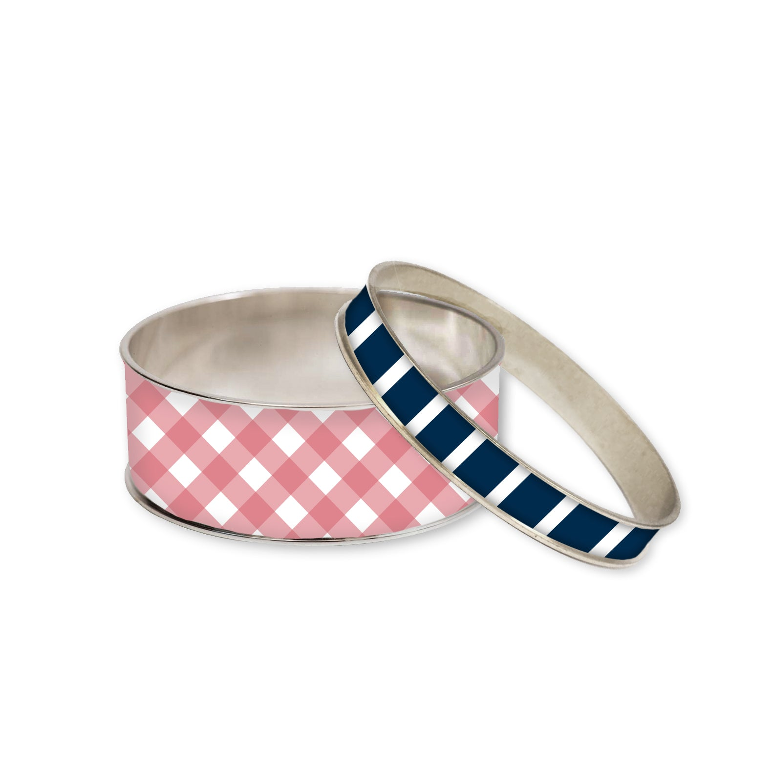 Nantucket Red Gingham Bangle Bracelet Set