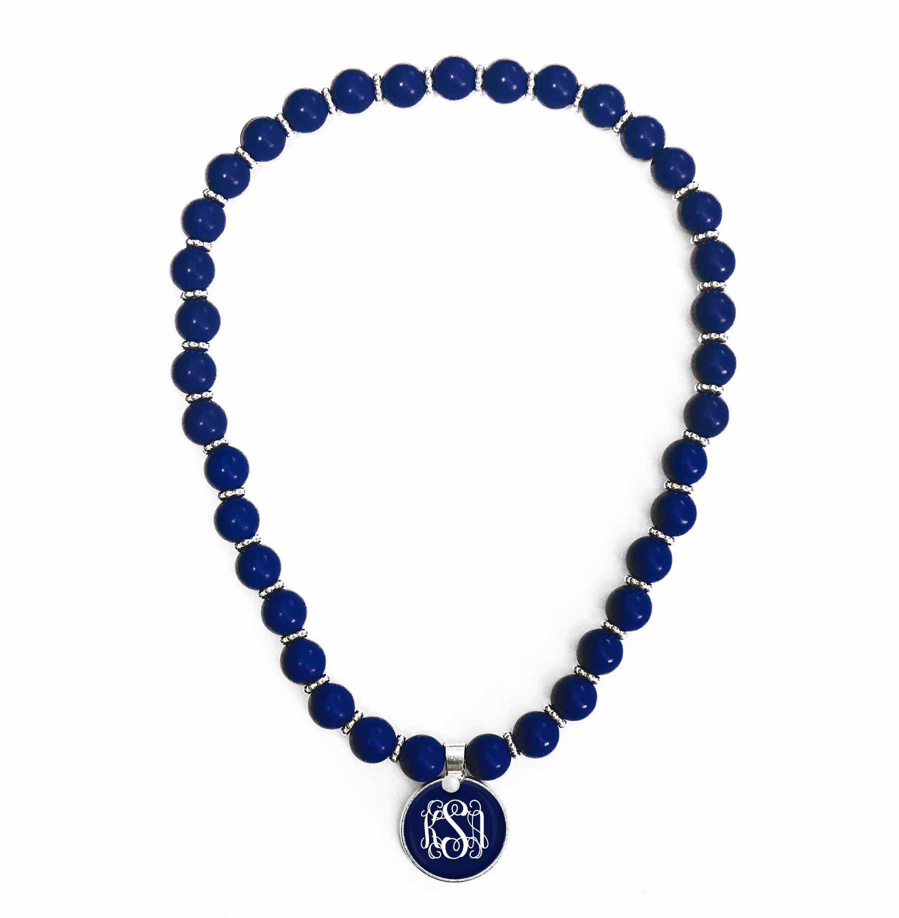 Beaded Monogram Necklace - Navy